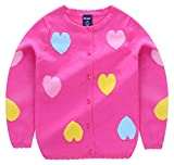 Girls Cartoon Sweater Round Neck Love Heart Button Down Soft Knit Outerwear for Babys 2-3T Rose