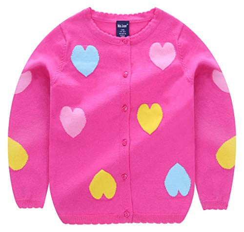 Girls Cartoon Sweater Round Neck Love Heart Button Down Soft Knit Outerwear for Babys 2-3T Rose by Weijuan (Image #2)