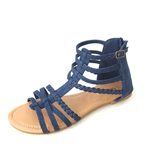 (MuDan Womens Buckle Zip Thong Gladiator Sandal (8 B(M) US,)