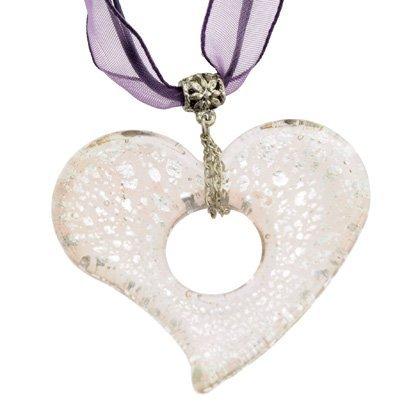 Murano Crystal Pendant (Murano Glass Heart Pendant with Cord & Clasp - 18inch (Mauve & Silver))