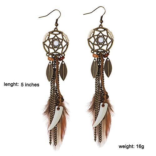 Vintage Long Tassel Feather Beads Drop Wolf Tooth Pendant Earring Fish Hook Earrings Boho Vintage Dangle Earrings for Women Girls Valentines day Mothers day Gift