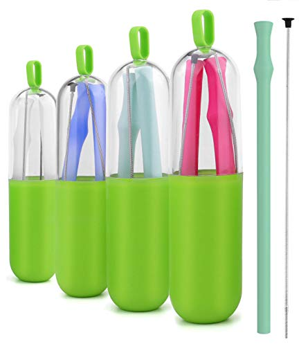 Collapsible Straws, Reusable Silicone Straws Smoothies BPA Free Folding Drink Straw with Brush and Case for Home, Office, Travel and Party Gift Use Pack of 4 ()