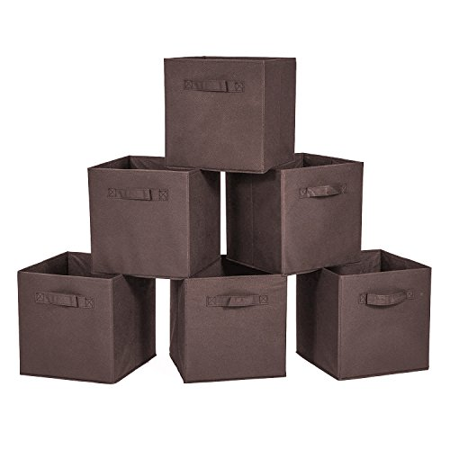 Bins Brown (MaidMAX Cloth Storage Bin with Dual Handles for Home Closet Nursery Drawers Organizer, Foldable, Brown, 10.5×10.5×11″, Set of 6)