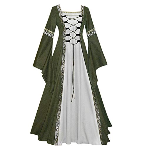 FAPIZI Womens Vintage Dresses Celtic Long Sleeve Medieval Maxi Dresses Renaissance Gothic Cosplay Princess Dress Green