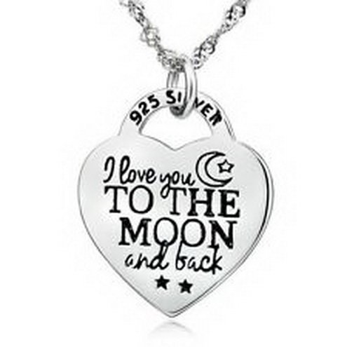 jacob alex #40651 I LOVE YOU TO THE MOON AND BACK Necklace 18'' Heart Pendant 925 sterling silver by jacob alex