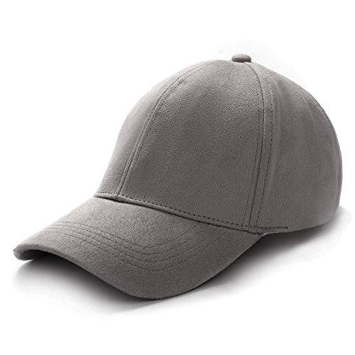 TARTINY Baseball Hat Unisex Unstructured Cotton Adjustable Plain Cap Polo Style (Grey)