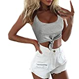 LAODIA Womens Sexy Short O-Neck Solid Bandage Knotted Tank Tops Sleeveless Vest(Gray,XL)