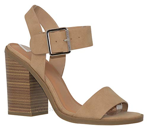 MVE Shoes Women's Ankle Buckle Block Heel Strapp Heeled Sandals, Talbert NAT NB -