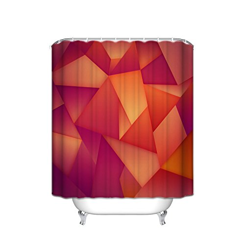 JANNINSE Waterproof Triangle Fabric Shower Curtain Set With Hook, Multi,Color Mosaic Triangle Solid Flame Line Seamless Pattern, Anti,Mold And Antibacterial, 60X72, Non,Toxic, Gradient Red