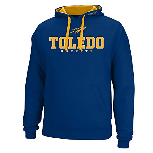 J America NCAA Toledo Rockets Men's Logo School Name Foundation Hoodie, Medium, Navy/Gold]()