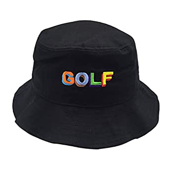 xiaopeng wang Unisex 100% Washed Cotton Packable Fishing Summer Travel Bucket Hat Outdoor Cap - Black - One Size