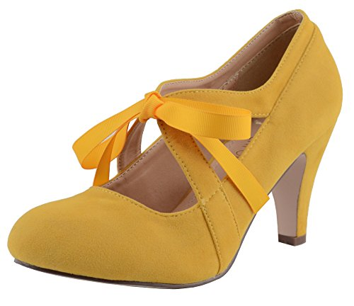 (Chase & Chloe Kimmy-62 Women's Vintage Bow Mary Jane High Heel Pump (7.5 B(M) U.S, Yellow))