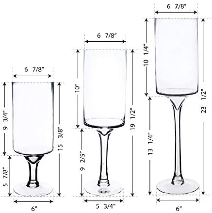 CYS EXCEL Glass Stem Candle Holders Set of 3