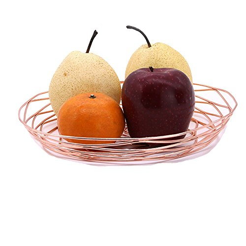 European Style Rose Gold Iron Mesh Woven Fruit Basket Container Fashion Creative Office Home Table Art Fruit Bowl Disply Tray Holder Stand Serving Metal Bread Basket Rack (Rose (Rose Bread Basket Set)