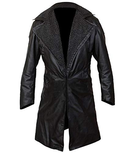 Black Men's Blade Runner Ryan Gosling Fur Lapel Collar Trench Leather Coat (Black, ()