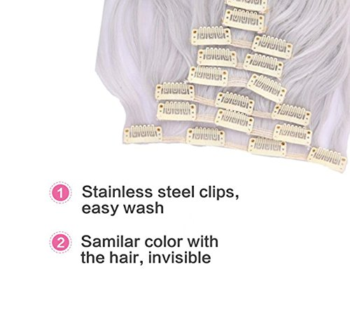 Synthetic Hair Extensions Clip on Japanese Kanekalon Fiber Hairpieces Full Head Thick Long Wavy Curly Soft Silky 8pcs 18clips for Women Girls Lady Fashion and Beauty 24'' / 24 inch (Silver Gray) by Beauti-gant (Image #1)