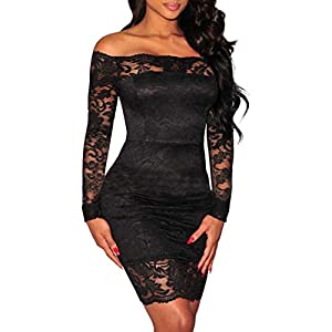 Cocktail Mini Dresses for Women Off Shoulder Long Sleeves Lace Dress Sexy Party