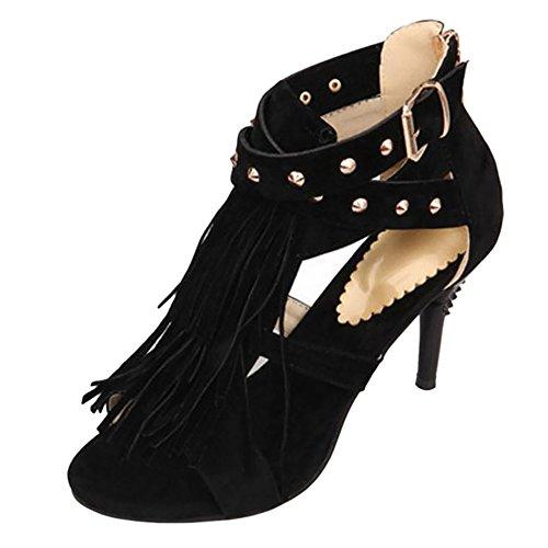 COOLCEPT Damen High Heel Sandalen Schuhe Black