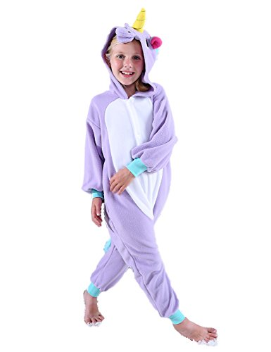 Ifboxs Unisex Children Unicorn Pyjamas Halloween Costume(Purple, 5)