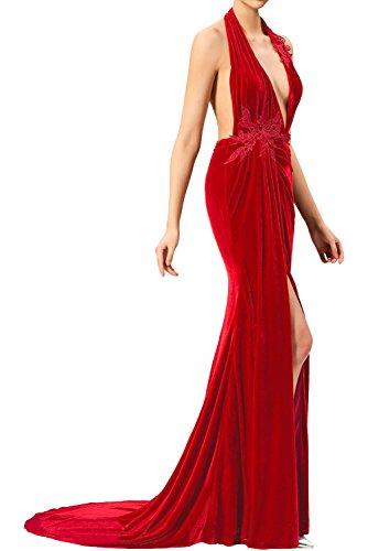 Tanzenkleider Lang Promkleider Abendkleider Neckholder Damen Cocktailkleider Partykleider Schlitz Royalblau Ivydressing Attrktiv Samt mit nx8zUxqX