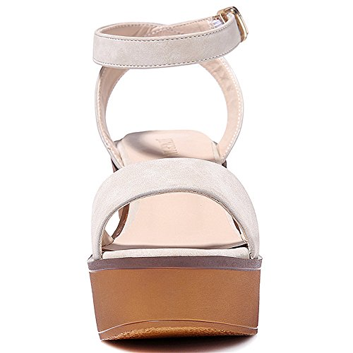 Summer Sandals for Shoes Summer Women WENDYWU Fashion High Slope Loafers Sandal Wedge Beige Platform qtfS8