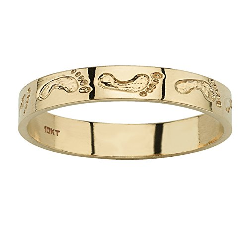 10k Yellow Gold Footprints Ring Band