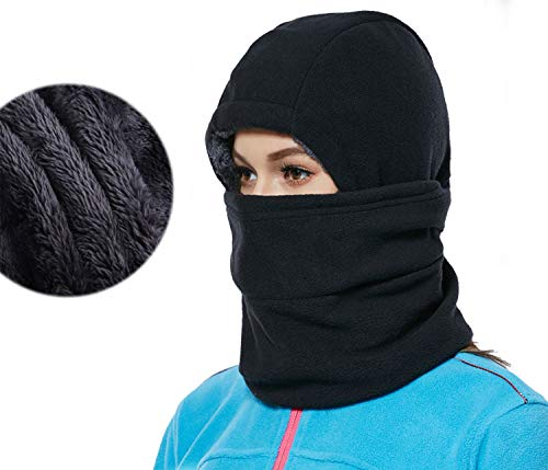(YQJYS Balaclava Ski Mask-Plus Velvet Keep Warm Tactical Hood-Mask Neck Lengthen (Black))