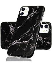 Vogu'SaNa Compatibel voor telefoonhoes iPhone 11 hoes silicone mat marmer patroon case cover marmeren tas dunne beschermhoes mobiele telefoon skin softcase schaal bumper TPU telefoonhoes etui zwart 1