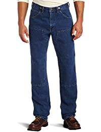 Men's Relaxed Fit Enzyme Washed Indigo Denim Logger Dungaree