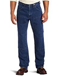 Key Apparel Mens Relaxed Fit Enzyme Washed Indigo Denim Logger Dungaree