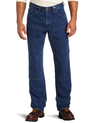 - Key Apparel Men's Relaxed Fit Enzyme Washed Indigo Denim Logger Dungaree, Denim, 36x32
