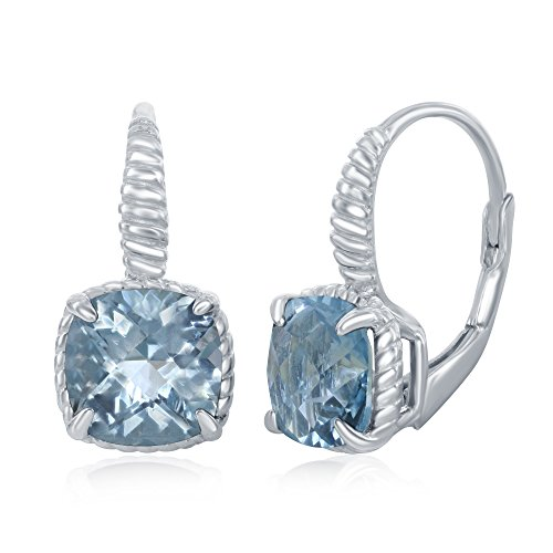 Sterling Silver Square Blue Topaz Gemstone Rope Design Border (Blue Topaz Rope Earrings)