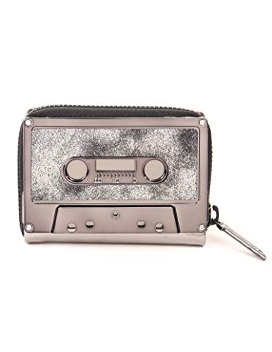 FYDELITY Cassette Tape Wallet -GUN METAL Metallic Chrome DUSTER GUN |For Small Leather Coin Purse/Business Card Holder/Thin ()