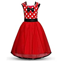 eleganceoo Girl Flower Ruffles Cosplay Costume Pageant Party Princess Dress(Red 110cm(4-5 Years))