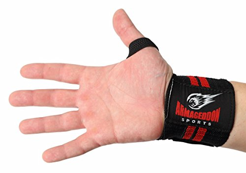 Premium Quality Fitness Cotton Wrist Wraps 12' Extra Strength with Thumb Loops for Weight Lifting and Kettlebells by Armageddon Sports
