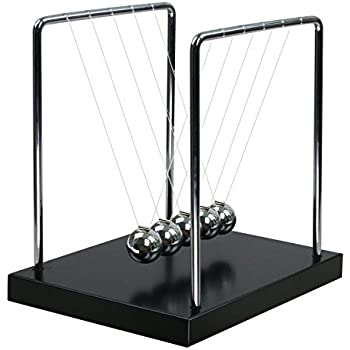 BOJIN Classic Newton Cradle Balance Balls Science Psychology Puzzle Desk Fun Gadget With Black Wooden Base