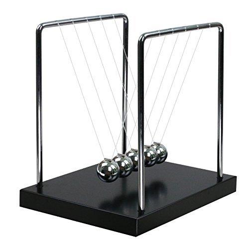 BOJIN Classic Newton Cradle Balance Balls Science Psychology Puzzle Desk Fun Gadget With Black Wooden Base - Medium