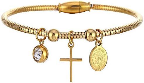 Nobrand Religiosa Virgen María Cruz Pulsera Oro Acero Inoxidable Cz Piedra Imán Alambre Envuelto Brazaletes Pulseras para Mujeres Hombres Joyería