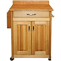 Catskill Craftsmen Deluxe Butcher Block Cart with Raised Panels and Backsplash