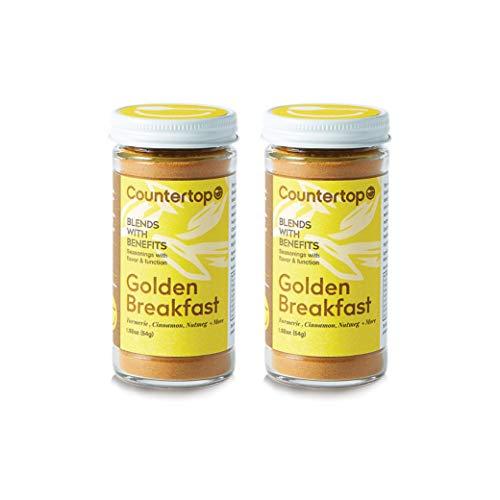 COUNTERTOP FOODS Golden Breakfast (2-Pack) - Turmeric Cinnamon Vanilla Spice Blend - Instant Golden Milk or boost for Smoothies & Coffee, 1.92oz ()