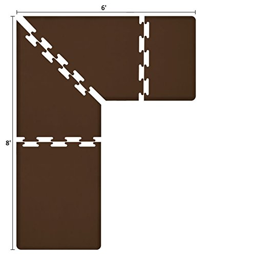 WellnessMats PuzzlePiece Collection L Series Brown Anti-Fatigue Mat, 8 x 6 Foot by WellnessMats