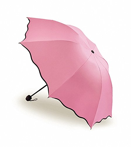 SUOWO Compact Folding Windproof Travel Uumbrella Bloom When Wet Rain Parasol for Kids Girl Women (Pink)