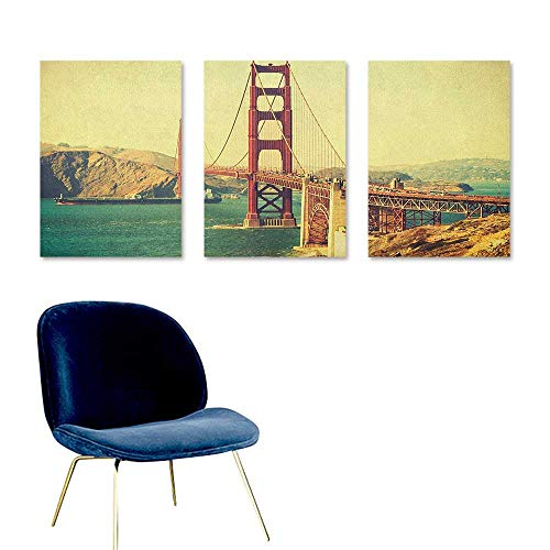 Vintage Canvas Pictures Old Film Featured Golden Gate Bridge Suspension Urban Path Construction Scenery Modern Decorative Artwork 3 Panels 16x31inch Blue Brown