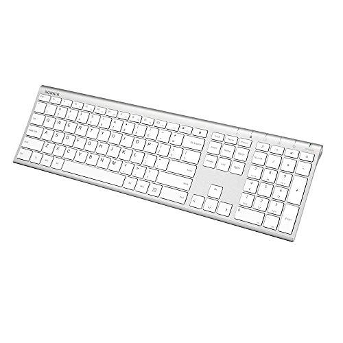 Sonkir Wireless Keyboard, 2.4GHz Ultra Thin Rechargeable Aluminum Full Size Wireless Keyboard
