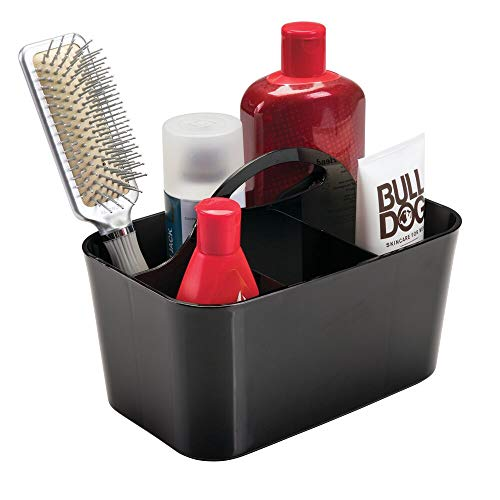 mDesign Bathroom Shower Caddy Tote for Shampoo, Conditioner, Soap - Small, Black ()