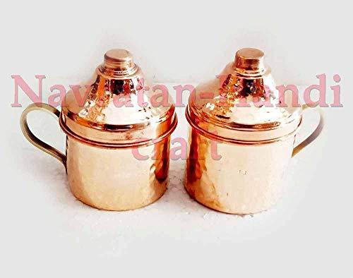 (Navratan-Handicraft 2 PCs Indian handmade Hand Hammered 100% Pure Copper Ayurveda health healing Tea Cup Antique Tea Serving Cups Mug With Brass handle With Lid)