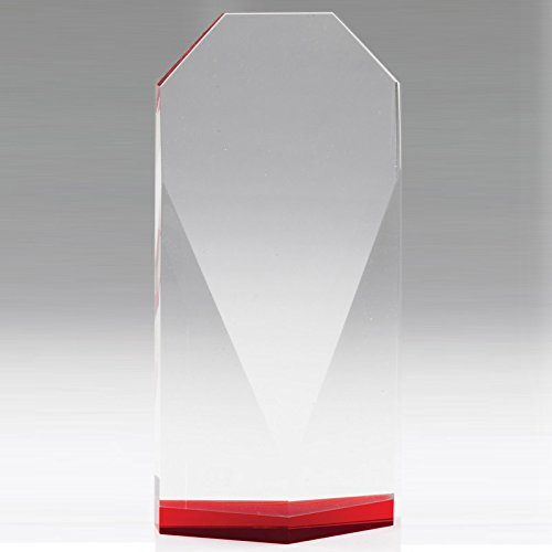 - Customizable 8-1/2 Inch Beveled Optical Crystal Tower Red Base