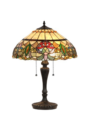 Chloe Lighting CH33360VR18-TL2  Hester Tiffany-Style Victorian 2 Light Table Lamp 18-Inch Shade