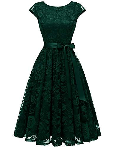 - BeryLove Women's Floral Lace Short Bridesmaid Dress Cocktail Party Dress BLP7016DarkGreenXL