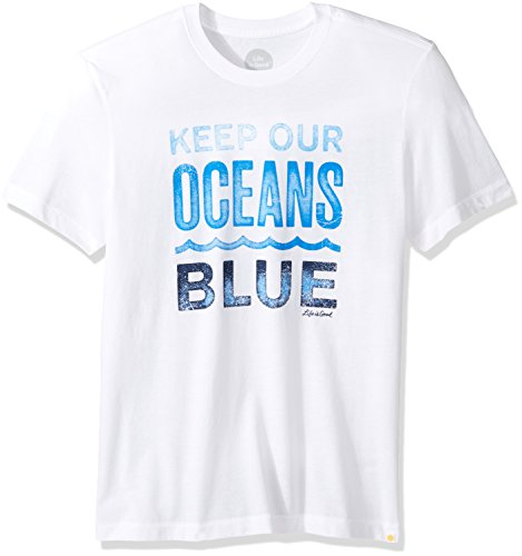 Clouds Mens Tee - Life is good Men's Keep Ocean Blue Cool Tee, Cloud White, Large